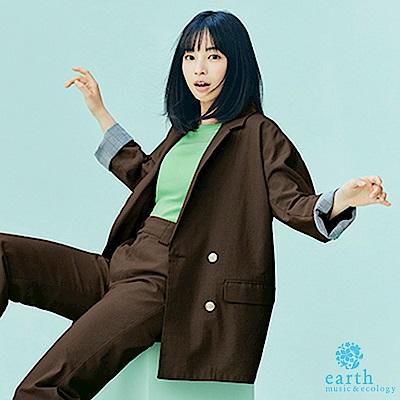 earth music 廣瀨鈴聯名款-棉麻混紡Oversize剪裁西裝外套