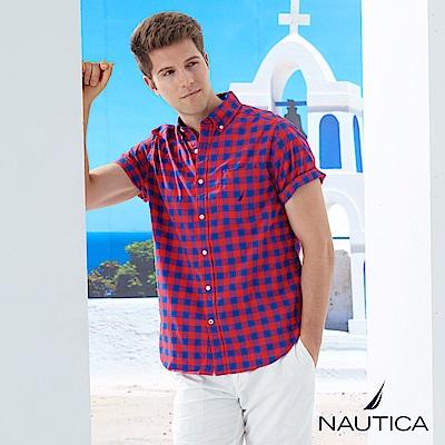 Nautica街頭時尚經典格紋短袖襯衫-紅藍格