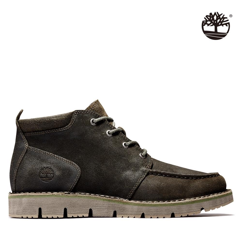 Timberland 男款深綠棕絨面革休閒緩衝中筒靴|A2KXC