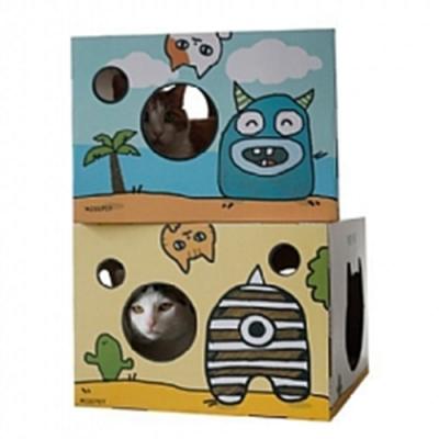 (2入組)寵喵樂《小怪獸貓抓屋》貓玩具瓦楞紙磨爪器貓房子