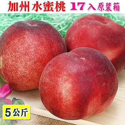 愛蜜果 空運美國加州水蜜桃17入原裝箱(約5公斤/箱)