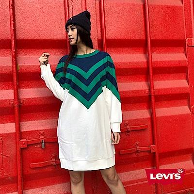 Levis 女款 長袖洋裝 亮片LOGO 刷絨毛