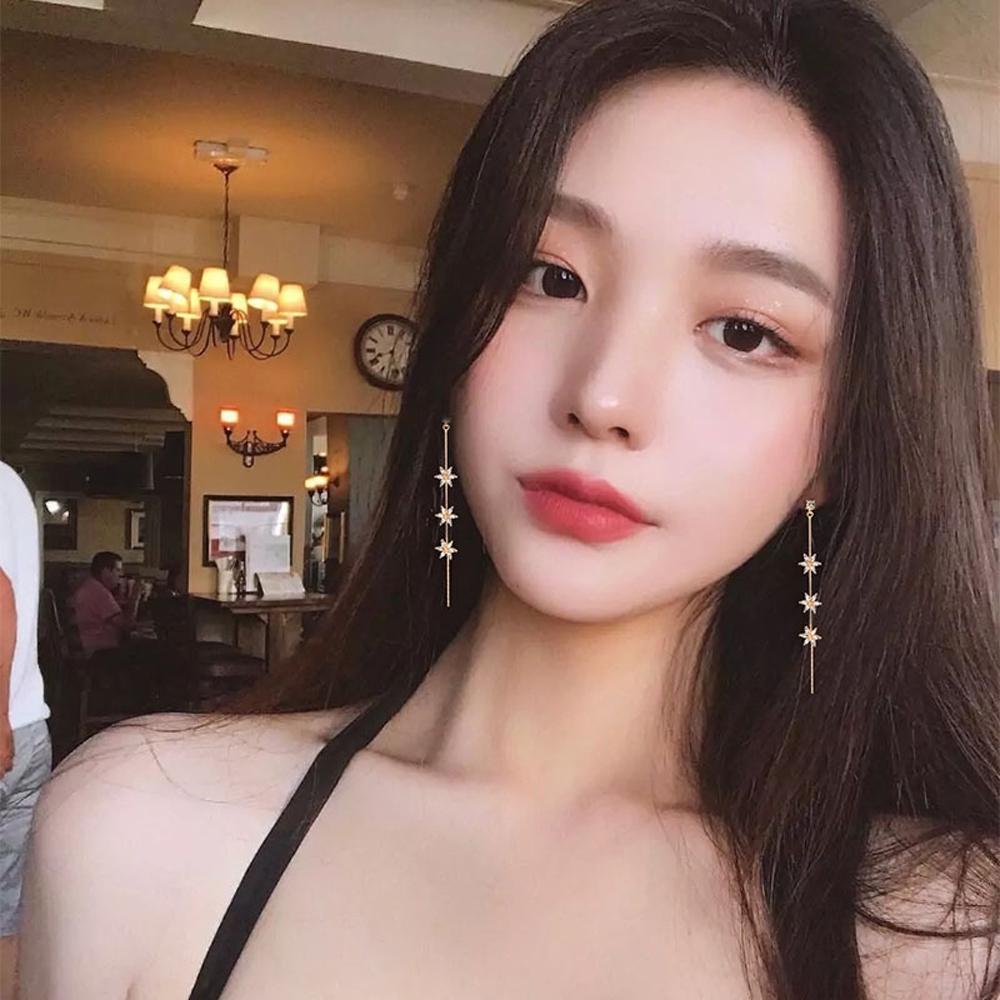 梨花HaNA 韓國925銀花卉瀑布全滿鑽華麗長耳環金色