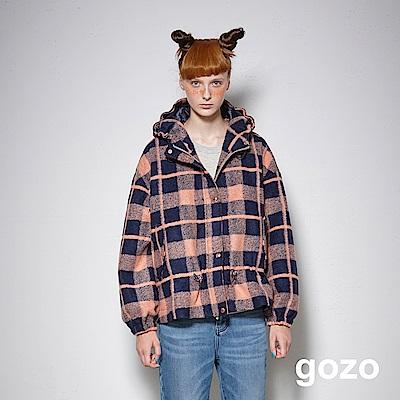 gozo 羊毛格紋抽繩連帽外套(深藍)
