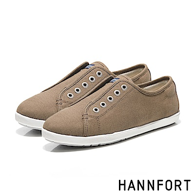HANNFORT CALIFORNIA無綁帶氣墊帆布鞋-女-咖啡棕