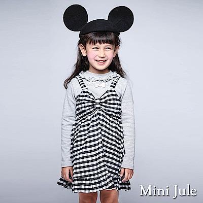 Mini Jule 洋裝 蝴蝶結格紋荷葉擺背心洋裝(黑)