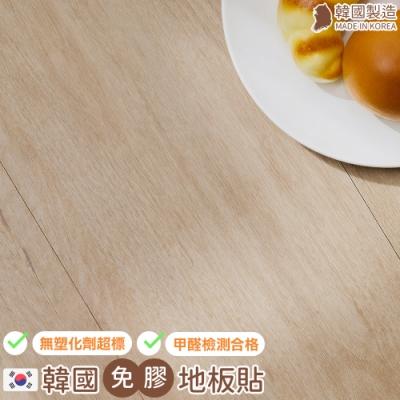 [券後$1689] 樂嫚妮 韓國製-0.7坪-免膠科技地板地磚-天然木材色-盒裝10片