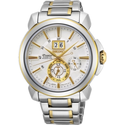 SEIKO 精工Premier人動電能萬年曆手錶(SNP166J1)-銀x雙色