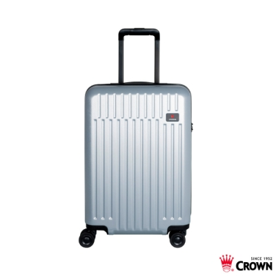 CROWN 皇冠 21吋拉鍊箱 雙層防盜拉鍊 銀灰