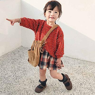 Baby unicorn 橘紅點點拼接格紋長袖洋裝