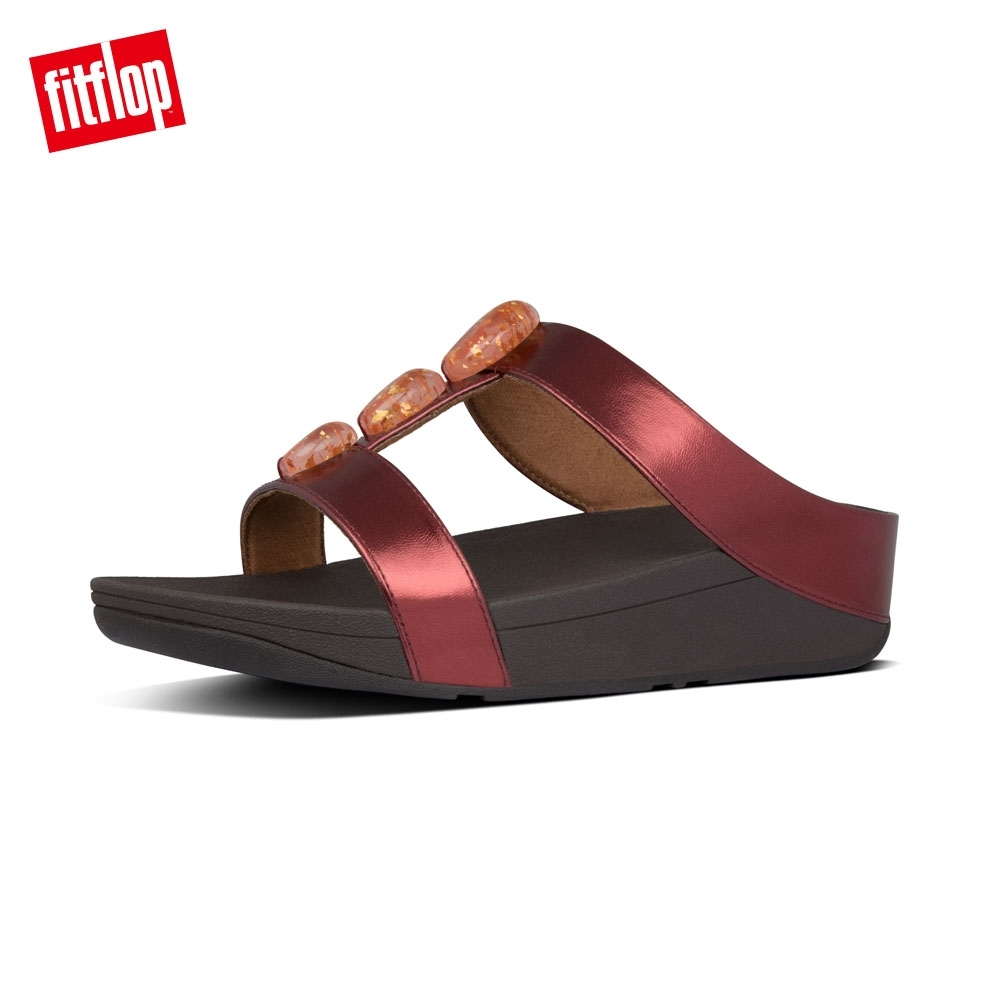 FitFlop METALLIC FLECK STONE H-BAR SLIDES暗紅 product image 1