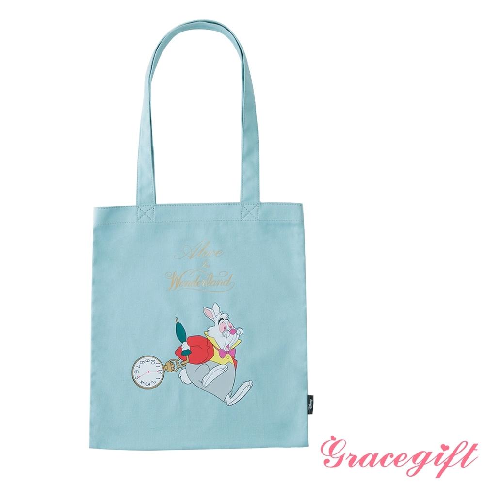 Disney collection by grace gift-愛麗絲白兔先生圖案帆布袋 牛仔