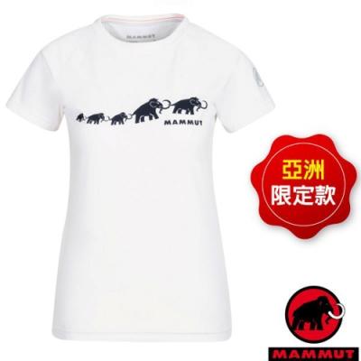 長毛象 女款 QD Logo Print AF 吸濕快乾彈性圓領短袖排汗衣.T恤_白 PRT3