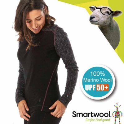 SmartWool 女 美麗諾羊毛 半門襟拉鍊印花高領保暖上衣_花紋黑