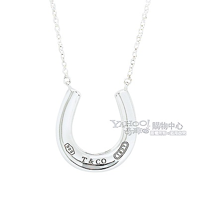 Tiffany&Co. 馬蹄造型刻字墜飾925純銀項鍊