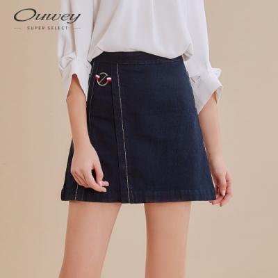 OUWEY歐薇 率性運動風彈性牛仔褲裙(藍)