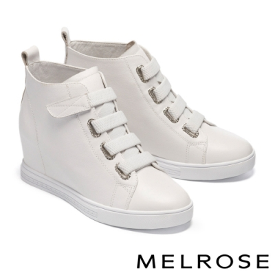 休閒鞋 MELROSE 時尚純色鑽飾全真皮內增高休閒鞋-白