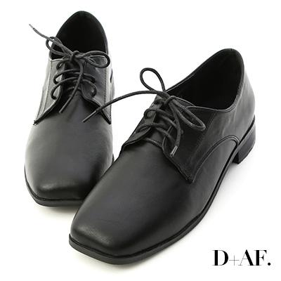 D+AF 學院主打.寬版方頭綁帶牛津鞋*黑