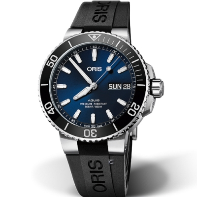 Oris豪利時Aquis Big Day Date潛水機械錶-45.5mm/藍