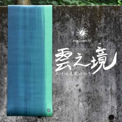 Fun Sport fit 雲之境-深呼吸專業瑜珈墊(漸層綠) 6mm-送卡蜜拉束背帶