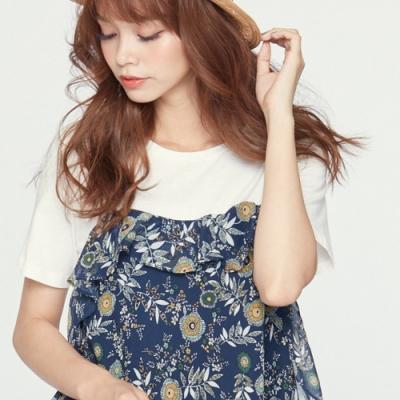 H:CONNECT 韓國品牌 女裝 -荷葉邊拼接滿版印花洋裝 - 藍(快)