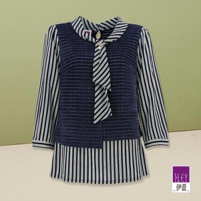 ILEY伊蕾 都會感絲巾領假兩件條紋上衣(藍)