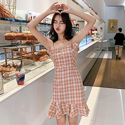 DABI 韓國風V領修身性感魚尾包臀細肩帶無袖洋裝