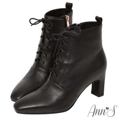 Ann'S頂級小羊皮窄瘦修身造型綁帶方頭扁跟短靴-黑
