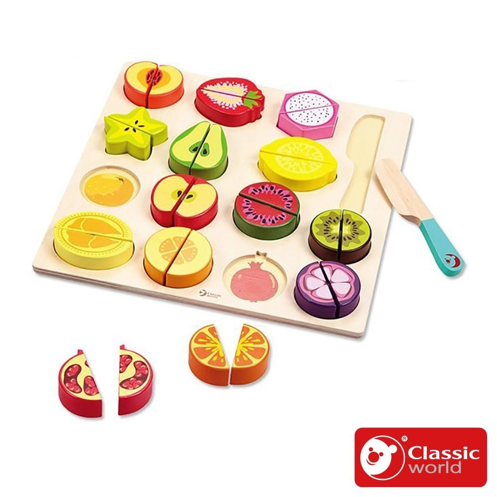 【德國 classic world 客來喜經典木玩】水果切切拼圖遊戲《6500》
