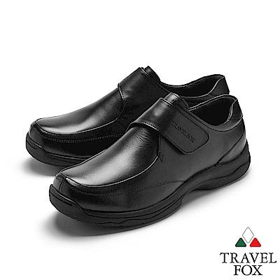 TRAVEL FOX(男) 無重力 超輕舒適牛皮側扣式休閒紳士鞋 - 引力黑