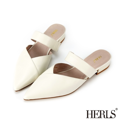 HERLS穆勒鞋 全真皮拼接造型橫帶尖頭低跟穆勒鞋 米白色