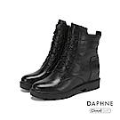 達芙妮DAPHNE 短靴-素色牛皮綁帶雲軟鞋底粗跟短靴-黑