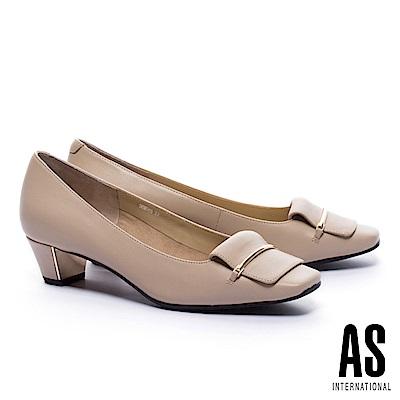 低跟鞋 AS 高雅純熟反折馬銜釦羊皮方頭低跟鞋-米