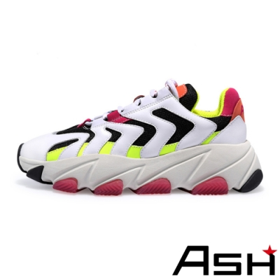 ASH-EXTREME時尚潮流波浪纹拼接增高厚底老爹鞋-彩螢白