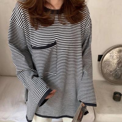 La Belleza圓領單口袋細條紋寬袖柔軟針織寬鬆側開叉上衣