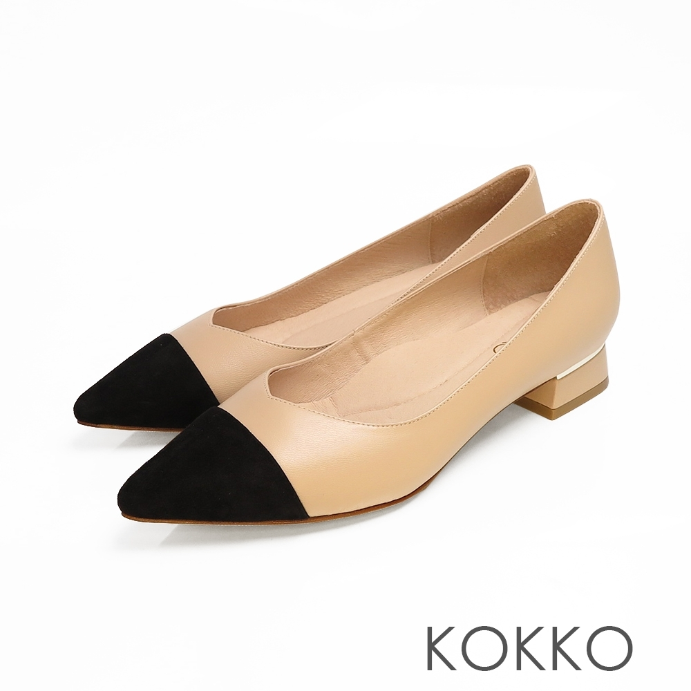KOKKO - 尖頭V口拼接金屬鑲嵌粗跟鞋-珍珠奶茶