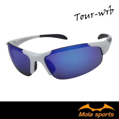 MOLA摩拉兒童運動太陽眼鏡 8-12歲 白色 多層彩色鍍膜鏡片  Tour-wrb
