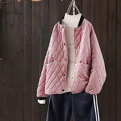 寬鬆時尚菱格加厚夾棉立領棒球服外套-設計所在