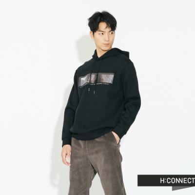 H:CONNECT 韓國品牌 男裝 - 個性圖印帽T - 黑