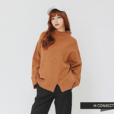 H:CONNECT 韓國品牌 女裝-開岔設計高領針織上衣-棕