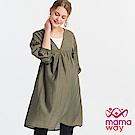 Mamaway  燈籠袖平織孕哺洋裝(外罩衫+哺乳背心)-共2色