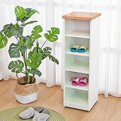 Birdie南亞塑鋼-1尺開放式五格收納置物櫃/鞋櫃(原木色+白色)30x33x100cm