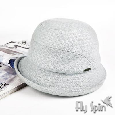 FLYSPIN秋冬針織羊毛呢保暖防寒優雅淑女盆帽