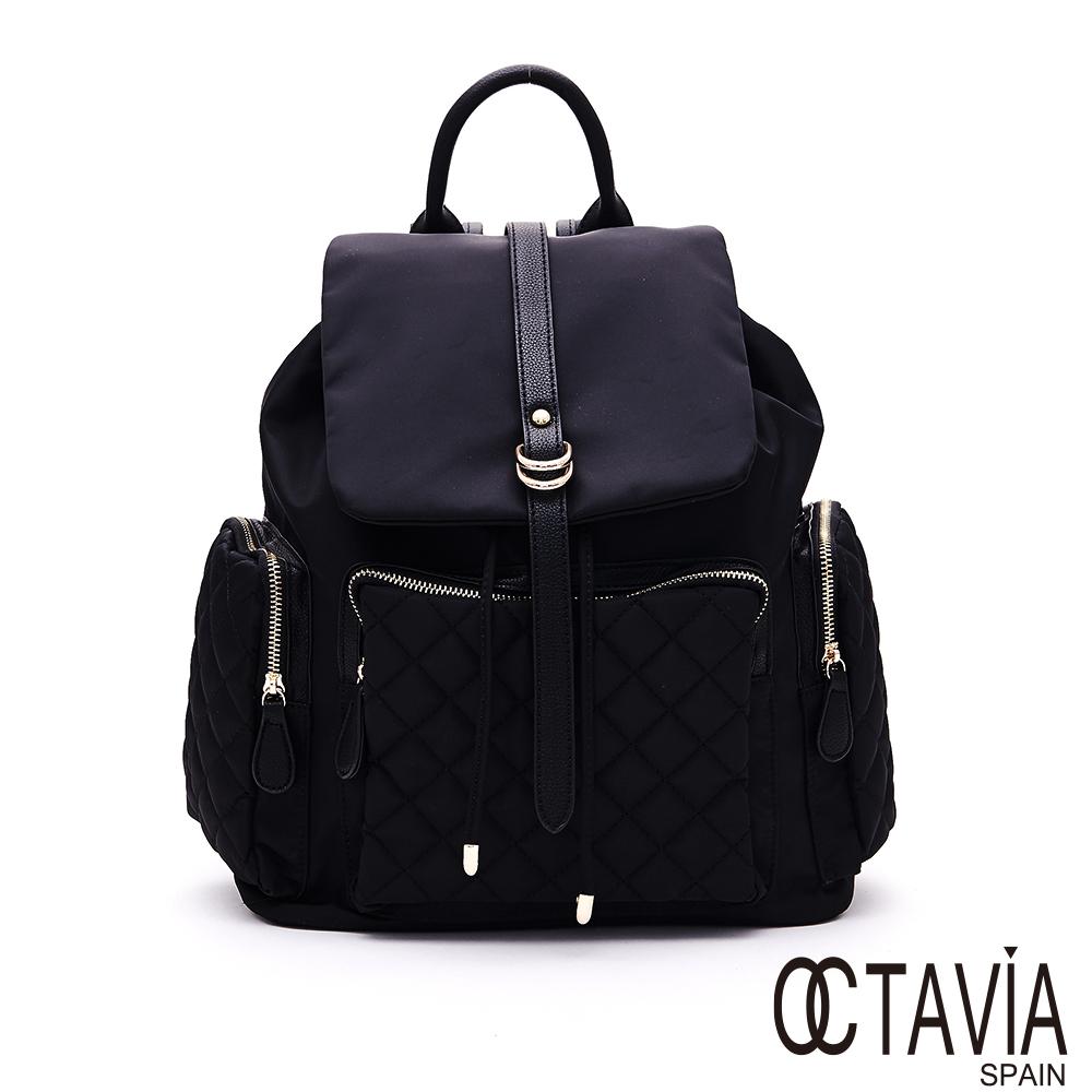 OCTAVIA8 - 重磅時尚 黑色菱格紋大口袋尼龍後背包 - 奢華黑