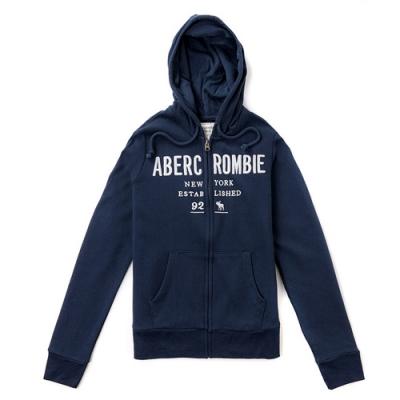 A&F 經典品牌刺繡連帽外套(女/深藍-M)