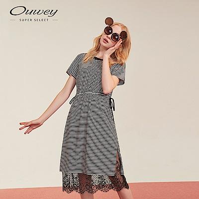 OUWEY歐薇 條紋蕾絲下擺洋裝(黑)