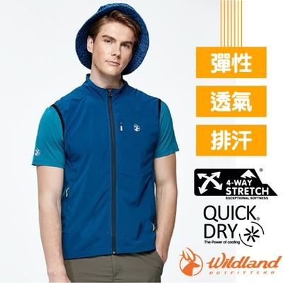 荒野 WildLand 男新款 收納式_彈性輕薄功能排汗透氣背心_海軍藍