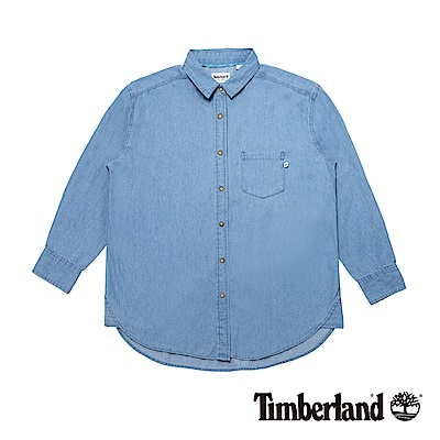 Timberland 女款退漿保色洗舒適寬鬆長款牛仔襯衫|B2404