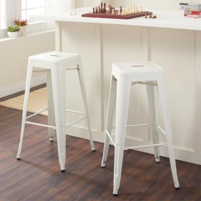 E-home Yanni亞尼工業風可堆疊金屬吧檯椅-高76cm 白色