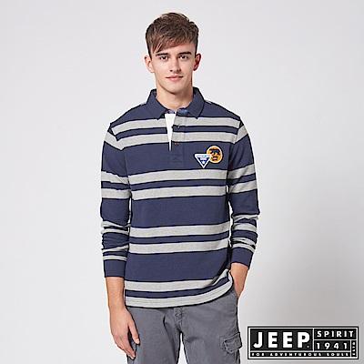JEEP 條紋長袖保溫吸濕排汗POLO衫 -海軍藍